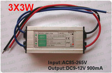 2pcs 3 series 3 parallel constant current 900MA waterproof 6-12V DC power supply 10W led light drivers(China (Mainland))