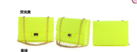 1pcs/lot free shipping 2014 silica gel jelly bags one shoulder cross body handbag chain neon candy color female messenger bag