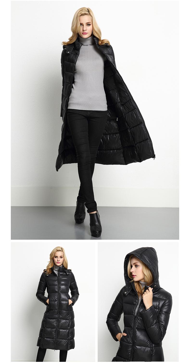 Скидки на [XITAO] 2016 новый зимний Европа мода женский длинным рукавом тонкий слой случайные теплое с капюшоном сплошной цвет длинные парки HF002