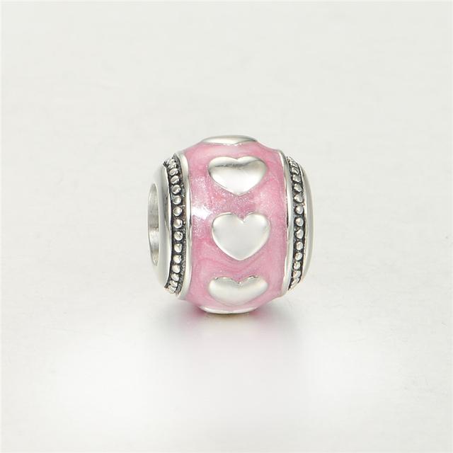 Серебро 925 изящные Jewerly сердца на круглый бусины DIY стерлингов - серебристо-ювелирные подходит европейским очаровывает браслеты