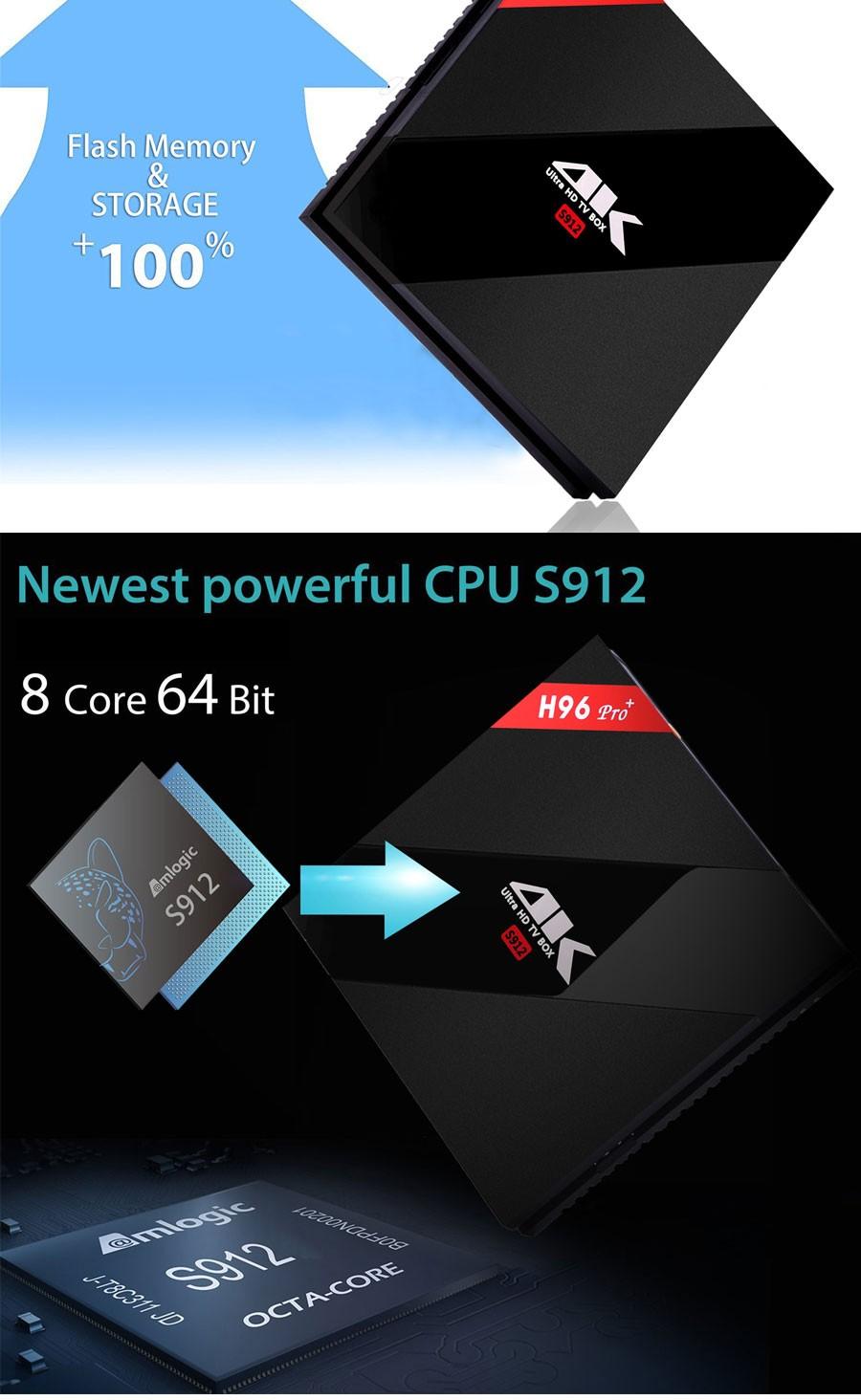 ถูก [ของแท้] H96 Pro + 3กิกะไบต์/32กิกะไบต์Android 6.0สมาร์ททีวีกล่องAmlogic S912 OCTAแกนCPU Kdoiแปล้Wifi 4พันH.265ตั้งกล่องด้านบน