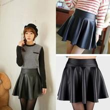 Buy Women Lady Girls Faux Leather Skirt High Waist Skater Flared Pleated Short Mini Skirt for $3.51 in AliExpress store