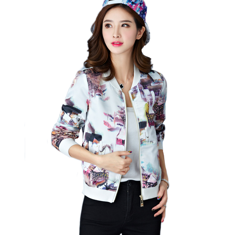 New Women Spring Autumn Jackets Short Tops 2016 Long Sleeve Floral Print Coat Vintage Women Clothing hoodies Coat(China (Mainland))