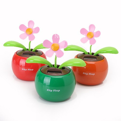 Freeshipping Children Flip Swing Flap Solar Powered Flower Auto Dance Toy For Kids Gift(China (Mainland))
