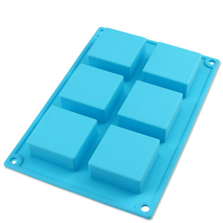 Hot Selling Baking Products Silicone Molds For Handmade Soap 6 Even Square Cake Mould Jelly Pudding Dessert Mold(China (Mainland))