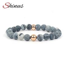 Shinus Bohemian Jewelry Men's Strand Couple Bracelet Male Pulseira Masculina Natural Snake Skin Agate Stone Pulseras KSB1029 Z20(China (Mainland))