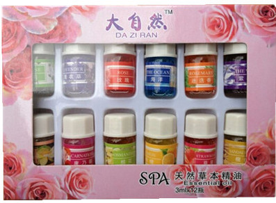 12bottles/box Natural Spa Essential Oil for Aromatherapy 100% pure essential oils 12 kinds of Perfume Fragrance 3ml/bottle Oil(China (Mainland))