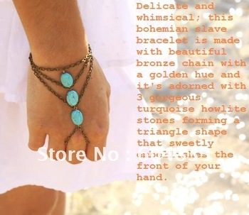 Wholesale-Boho Slave Bracelet the Hand Bracelet Ring Hipster Bronze Chain Bohemian Three Turquoise Beads  Hand Jewelry Piece