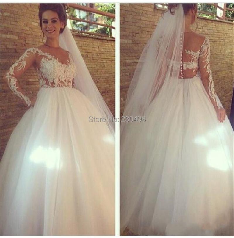 White Wedding Dresses 2015 Long Sleeves Line Scoop Vintage Lace Vestido De Novia Floor Length Organza Garden Bridal Gowns - Skies wedding dress store