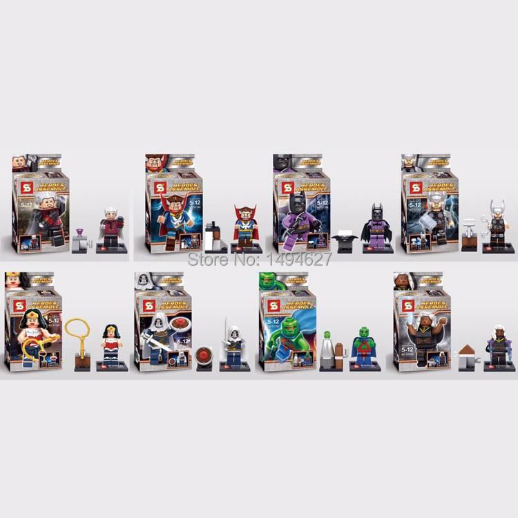 SHEN YUAN SY266 Building Blocks Super Heroes Avengers Minifigures Heroes Assemble Wonder Woman Batman Bricks Mini Figures Toys