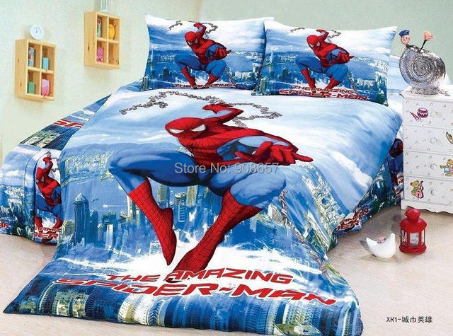 Синий супер человек - паук принт постельные принадлежности для мальчики дети в для дома декор хлопчатобумажная ткань один размер одеяло одеяло крышки лист