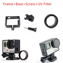 2015New Gopro Accessories Hero4 Standard Protective Frame Mount+Base Mount+Screw+UV Filter Lens for Go Pro Hero3/3+ Hero4 Camera