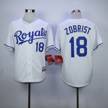Men KC High Quality 16 Bo Jackson 18 Ben Zobrist Throwback Man blue gray white Jersey(China (Mainland))