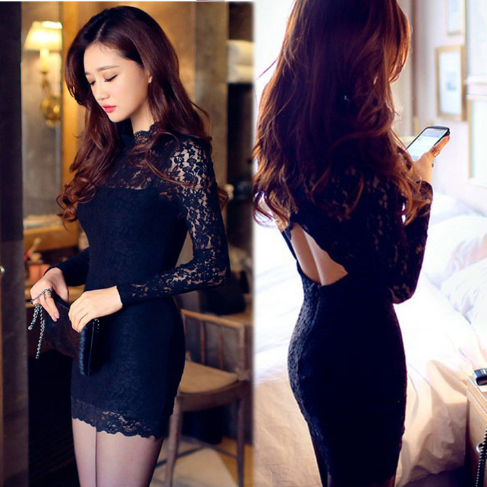 S-XL Backless Black Sexy Lace Dress 2016 Hot Full Sleeves Slim Bodycon Sheath Women Summer Spring Dresses Club Vestidos sex(China (Mainland))