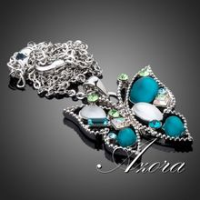 AZORA Platinum Plated Multicolor Stellux Austrian Crystal Butterfly Jewelry Pendant Necklace TN0100