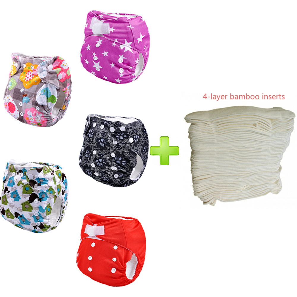 wholesale 5 nappies With 5pcs Bamboo Inserts adjustable babyland reusable cloth diaper nappy one size fit all (5sets)(China (Mainland))