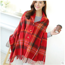 2015 New Brand Quality Cashmere Women 's Plaid Button Scarf Front Tassel Trim Warm Shawl Cape Pashmina Poncho desigual Scarves