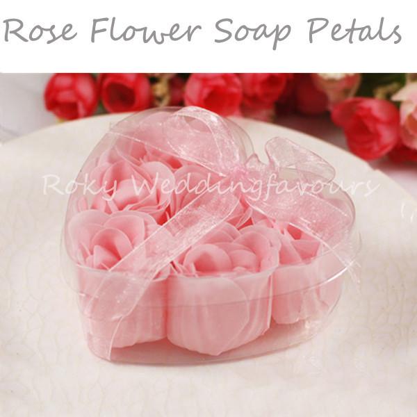 Free Shipping! 60pcs=10boxes/lot,Rose Flower Bath Body Soap Rose Paper Soap, Soap rose petals favors,wedding favors,party favors(China (Mainland))