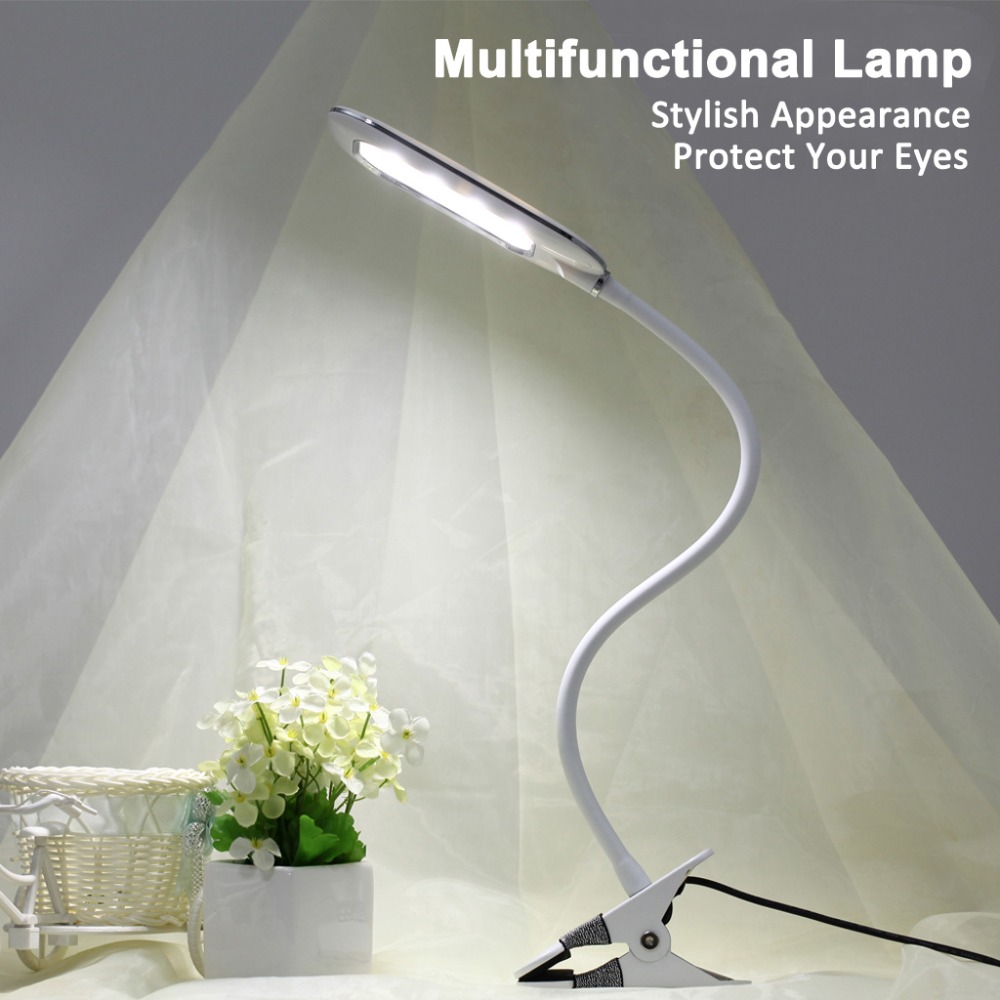 Dimmable LED Table Lamp 5W USB Flexible Clip-On Clamp Desk Lamp Task Light Book Light, Eye-Protected Adjusted 6 Lighting Modes(China (Mainland))