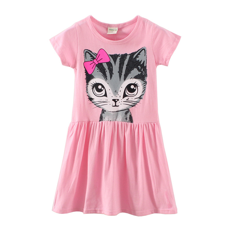 kids dress little girls dresses fashion kitty dresses good quality children clothes 2016 summer toddler girl clothing(China (Mainland))