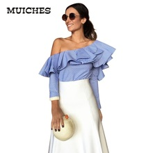 Buy One shoulder ruffles blouse shirt women tops 2016 autumn Casual blue striped shirt Long sleeve cool blouse winter blusas for $8.15 in AliExpress store
