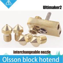 HOT!DIY 3D printer Ultimaker 2+ UM2 Extended+ Olsson block kit for 3mm filament E3D Olsson block hotend interchangeable nozzle