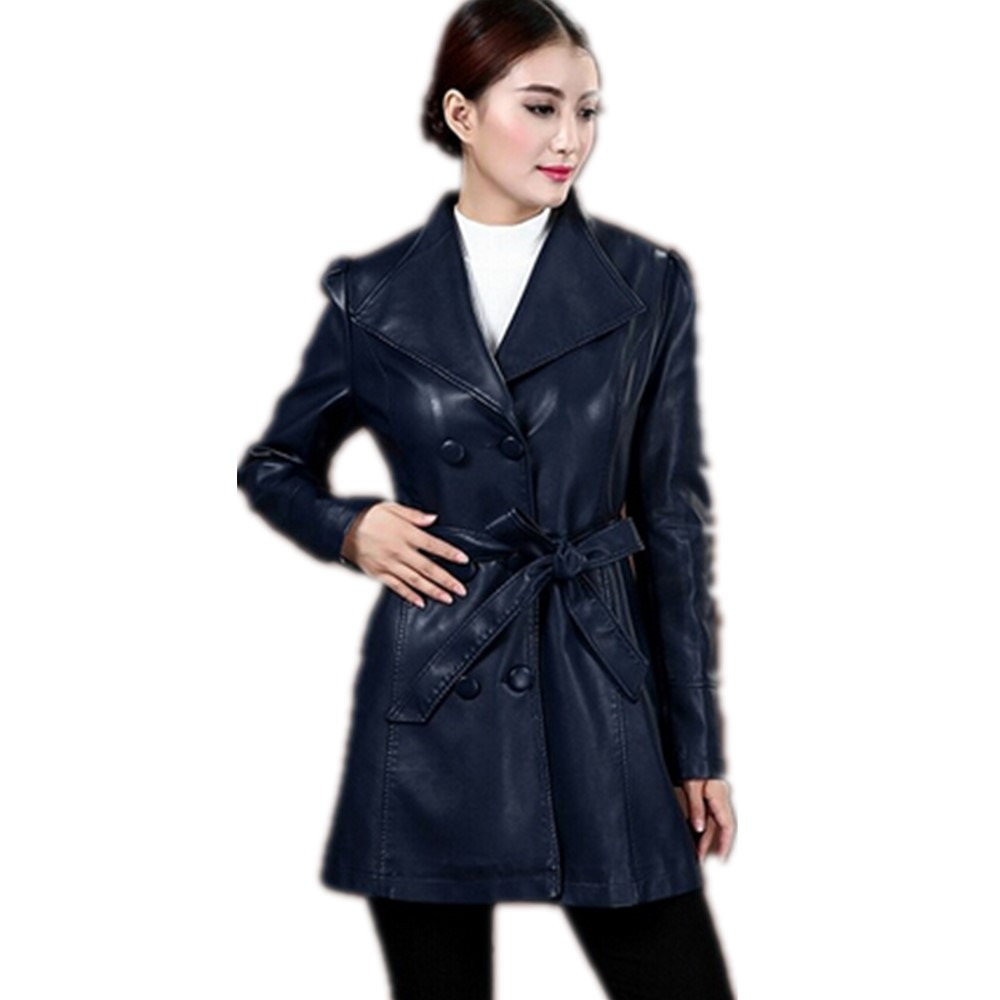 Free Shipping 2015 Autumn Formal Puff long sleeve Medium long Jacket,Europe Style Double breasted black leather Outerwear M-4xlОдежда и ак�е��уары<br><br><br>Aliexpress