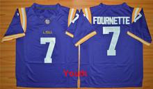 New LSU Tigers Youth College Football Jerseys Kids 7 Leonard Fournette 3 Odell Beckham Jr. Jerseys Purple White Best Free Shippi(China (Mainland))