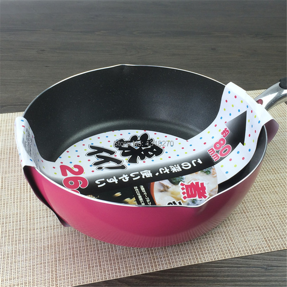 New arrival 26cm style pink Non-stick pot soup pot wok fishing cone,Multifunctional cooker, Frying Cooking(China (Mainland))