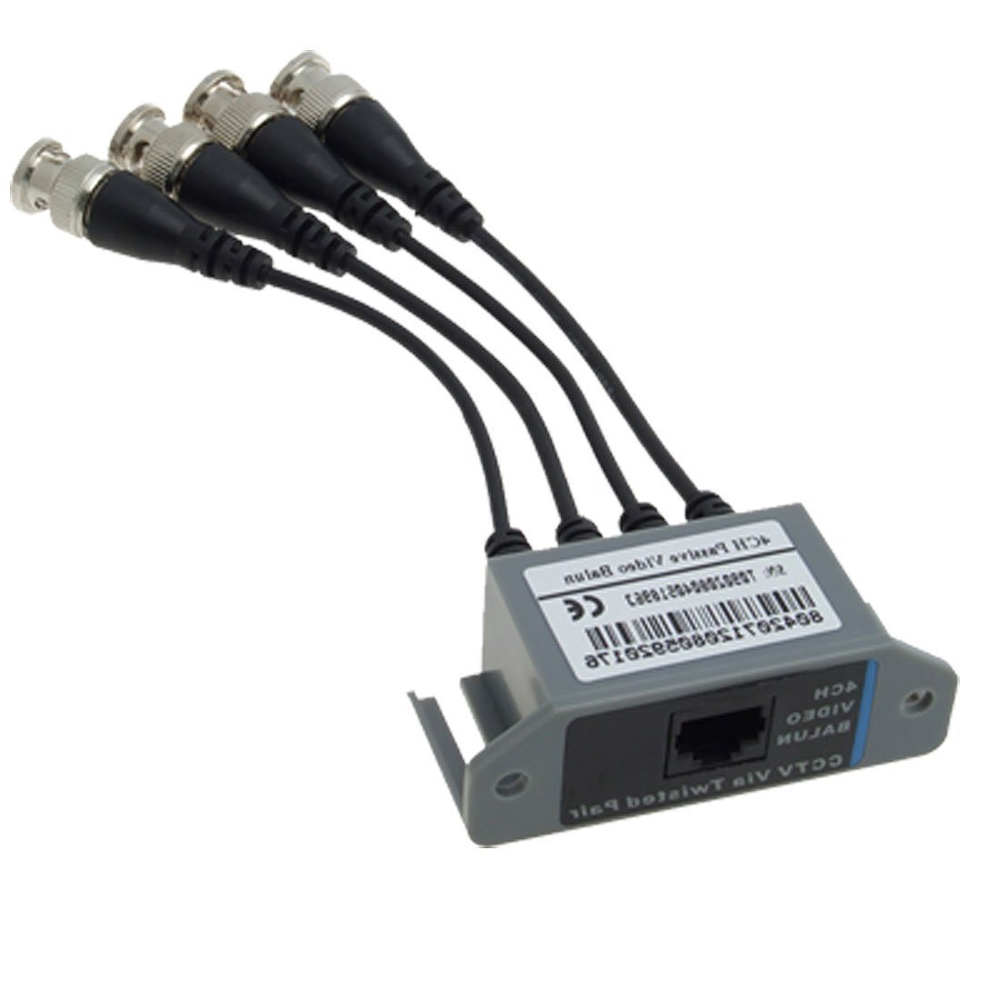 New CCTV 4 Channel Passive UTP Transmitter Video Balun BNC Male to UTP RJ45 CAT5 Fast Shipping(China (Mainland))