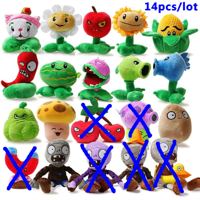 plants vs zombies plush toys set PVZ toys for child 14pcs/lot 13-20cms in Height Middle size free shipping<br><br>Aliexpress