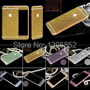 Sparkling rhinestone sweet deco case phone 10 colors bling diamond sticker For Apple iphone 6 colourful sticker(China (Mainland))