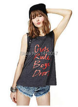 Printed letters Dark Gray Sleeveless O-neck Women Summer Tank Tops European style high quality Hot Sale 2015 Fashion Haoduoyi(China (Mainland))