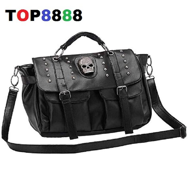 Only 1 color Unique Design Fashion Casual OL Office Bag All-match Big Women's Cool Handbag Fashion Punk Skull Rivet Bags H080-4(China (Mainland))