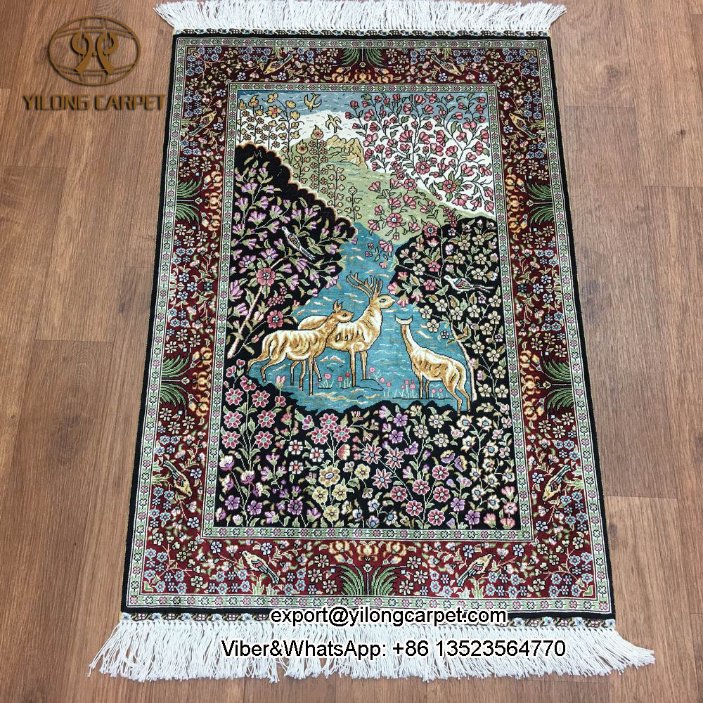 Yilong 2'x3' small persian rugs animals prayer carpet handmade (wk90A-2x3)(China (Mainland))