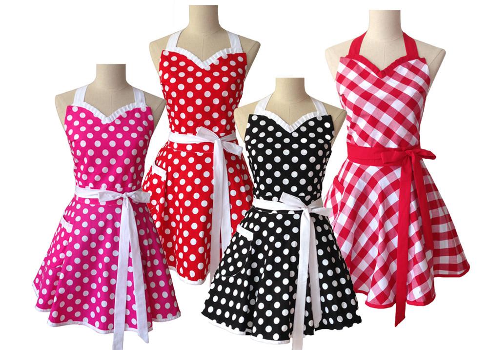 Sweetheart Retro Kitchen Apron Woman Cotton Polka Dot Cooking Salon Avental de Cozinha Divertido Pinafore Apron Dress Vintage(China (Mainland))