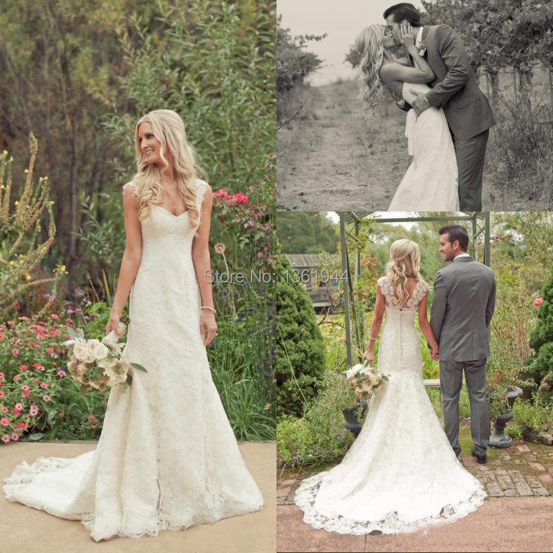 2015 new vintage lace sheath wedding dresses sweetheart for Lace beach wedding dresses