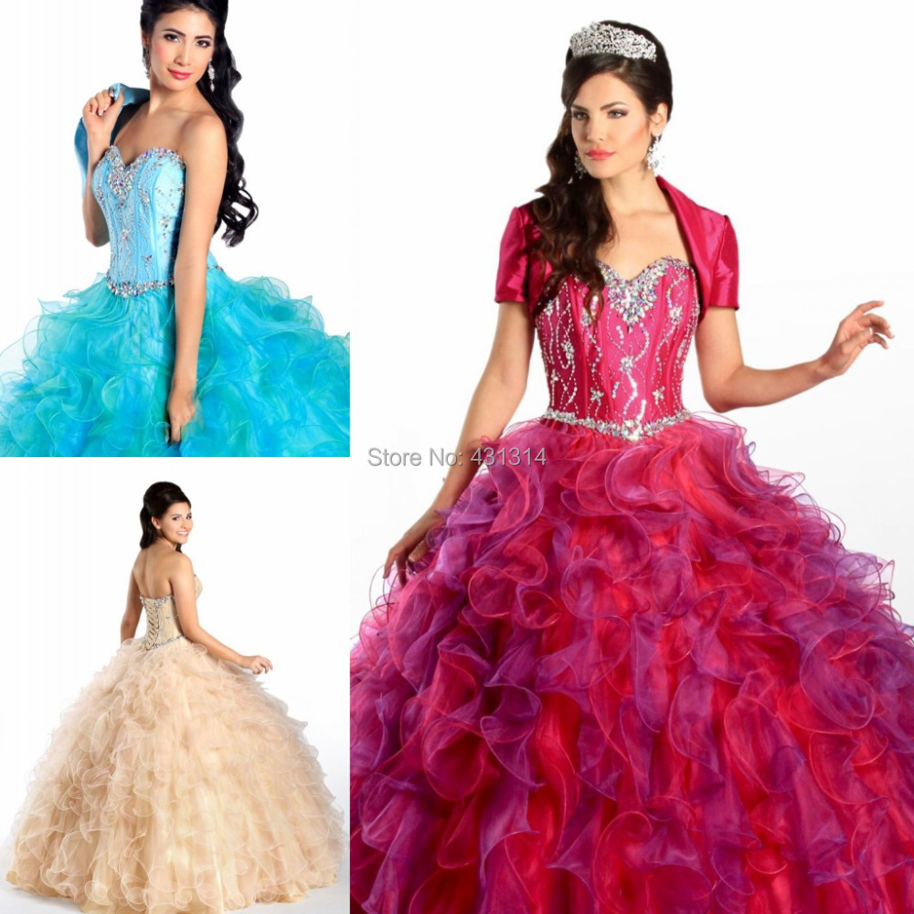 New Noble Sparkling Crystal Prom Dresses Ball Gown Fiesta Sweethearty Pageant Quinceanera Custom Size - Boutique dress's store