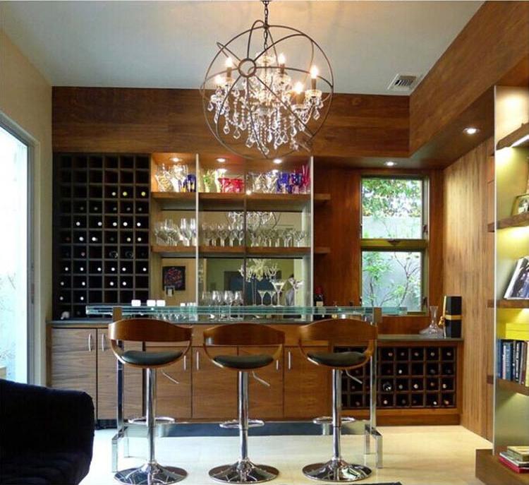 Orbital Crystal Chandelier American Retro Crystal Chandelier Indoor Living Room Hanging Light Luxury Home Deco art indoor Lamp