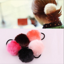 Lovely Warm Artificial Fake Rabbit Fur Ball Girls Headwear Elastic Rope Hair Bands Ties For Women  Hair Accessory Rubber Band(China (Mainland))
