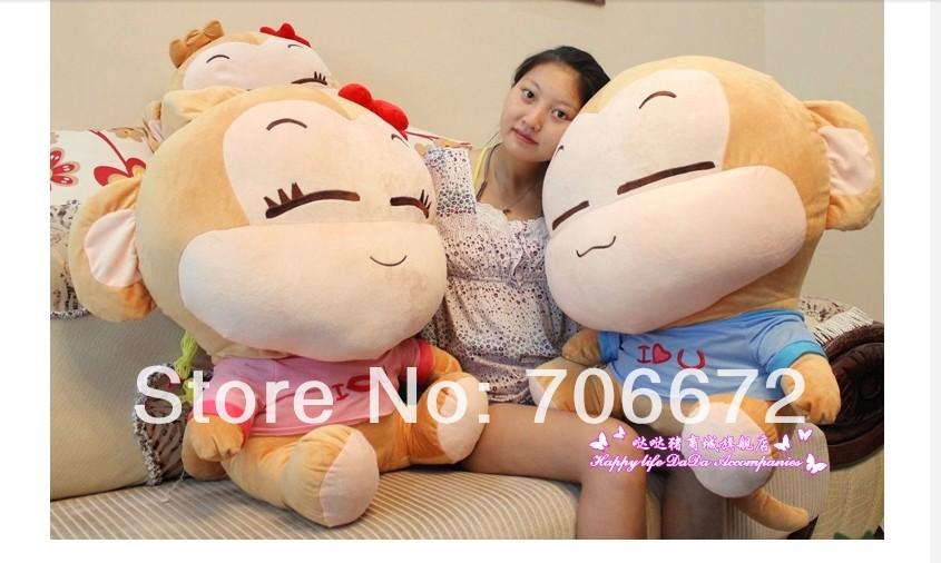 stuffed animal lovely yoyo and cici monkeys lover monkey largest 95cm monkey a pair plush toy monkey doll gift d7986(China (Mainland))