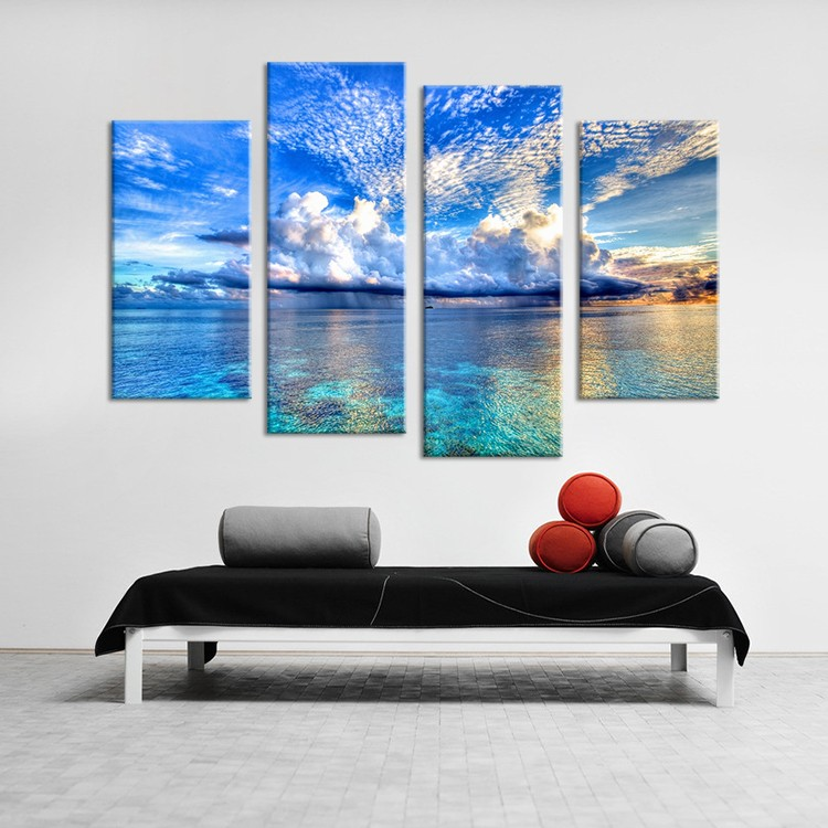 4PCS HD oil painting cloud and the Great Barrier Reef Wall Art Home Decoration Living Room Print On Canvas Modern oil Painting