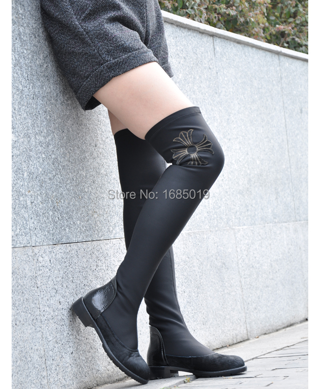 New Arrival comfortable Stretch Fabric  low heel knee high  boot for women with flower L060<br><br>Aliexpress