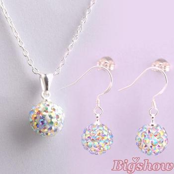 silver plated jewelry Hot sale 10mm CZ crystal shamballa set drop earrings & pendant necklaces 24 colors