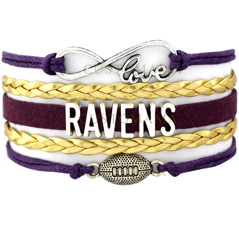 CUSTOMAMA Infinity Love Ravens Bracelet Football Bracelet Gift for Football Fans Purple Gold Wax Suede Leather Custom any Themes(China (Mainland))