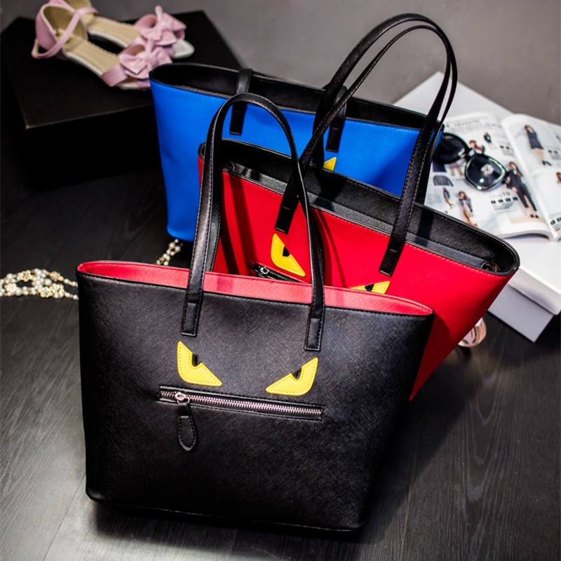 2016 Women Leather Handbags Designer Monster Bag Female Leather Patchwor Tote Bag Ladies Cute Shoulder Bag New Bolsos Mujer(China (Mainland))