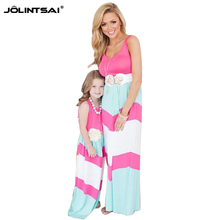 2016 Striped Patchwork Matching Mother And Daughter Dresses Women Clothes Summer Maxi Dress Girl Cotton Casual Family Clothing