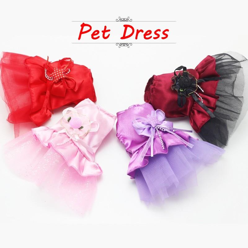 2015 New Summer Pet Clothes Mini Pink Purple Lace Dress Skirt Dogs Princess Dresses Wedding Dress XXS XS For Small Dog Clothing(China (Mainland))