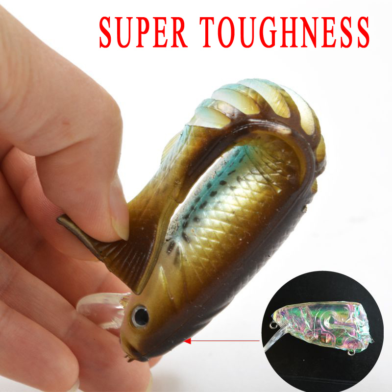 100mm 20g hard soft plastic bait wide wobble slow for Hard and soft fishing