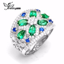 6 Emerald 6 Sapphire Cocktail Ring Big Elegant Brand Fine Jewelry 925 Sterling Sliver Ring For Women(China (Mainland))